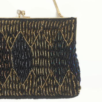 Beautiful Beaded Purse - Made in Hong Kong - 1970s 70s - Gold Black Blue Glass Beads - Evening Bag | Vintage Purse