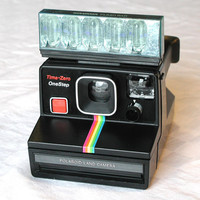 Polaroid Time-Zero OneStep Land Camera & Sylvania Flash Bar - Rainbow Stripe