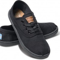 Solid Black Canvas Youth Cordones