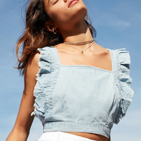 Cooperative Denim Frill Apron Top | Urban Outfitters