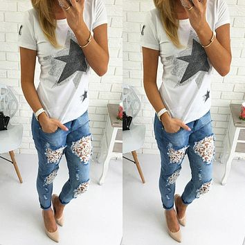 2106 New Arrival Fashion Hot Sale Cheap Womens Skinny Lace Crochet Stretch Denim Slim Jeans Pants Blue Ripped
