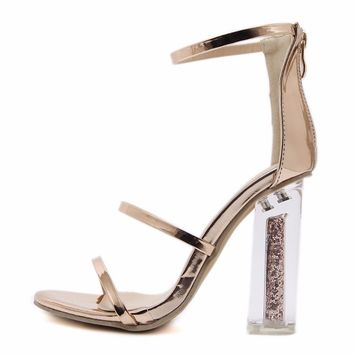 Gold Open Toe Ankle Strap Crystal Transparent Clear Block High Heel Sequined Sandals