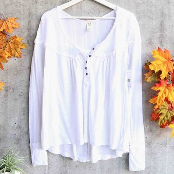 Free People - Down Under Raw-Trim Henley Top - White