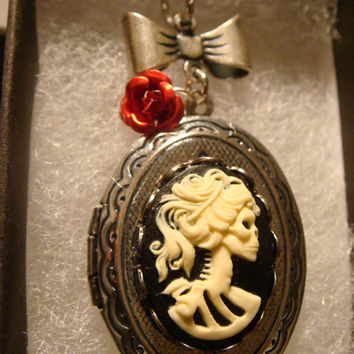 Steampunk Skeleton Goddess Cameo Lolita Locket Necklace with Bow and Red Rose -Gothic - Victorian (1251)