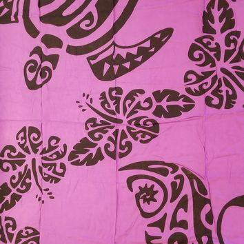 Purple with Black Tahitian Island Print Plus Size Sarong