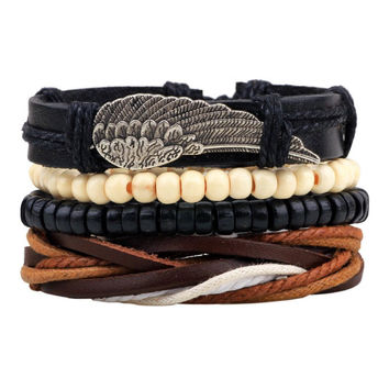 Punk Style Faux Leather Wing Bracelets