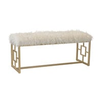 Betty Retro Double Bench White Faux Fur With Gold