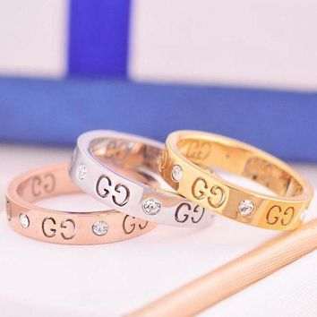 PEAPJ1A GUCCI Stylish Logo Hollow Geometric Pattern Diamond Ring Titanium Steel Tail Ring Joint Ring