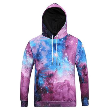 Unisex Lover Casual Multicolor Galaxy Print Top Sweater Pullover Sweatshirt Hoodie