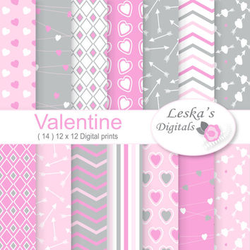 Pink and grey digital papers in hearts, chevron, and diamond patterns for instant download