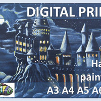 Harry Potter Hogwarts Castle Art Print Poster Original Painting Instant Download Printable Card Wall Home Decor A3 A4 A5 A6 Postcard fan