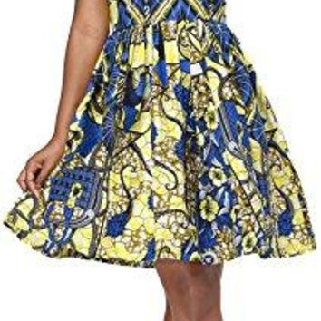 Women African Dress Ankara Batik Print Traditional Clothing Casual Party Dress