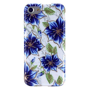 Blue Lily Chrome Floral iPhone Case