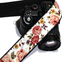 dSLR Camera Strap. Roses Camera Strap. Camera Strap with Flowers. Original Camera Equipment