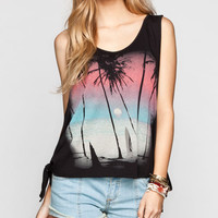 Workshop Beach Scene Womens Tie Side Tank Black  In Sizes
