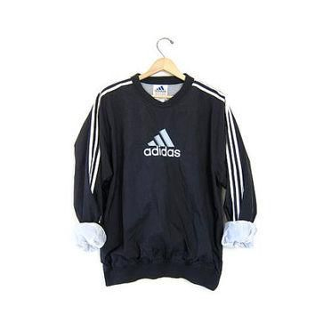 90s ADIDAS pullover jacket. Sports windbreaker sporty nylon sweatshirt. Black + White