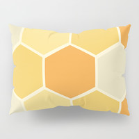 Yellow Honeycomb Pillow Sham by spaceandlines