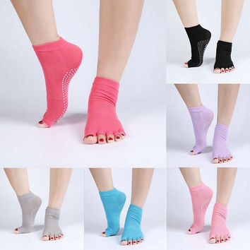 1 Pair High quality Half Toe Socks Non-Slip Peep Toe Anti-Slip Durable Cotton Socks for woman