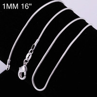 High Quality 925 Sterling Silver Chains Necklace 1mm Snake Chain Necklace 16inch/18inch/20inch/22inch/24inch 10pcs mixed