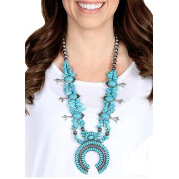Mojave Turquoise Squash Blossom Necklace
