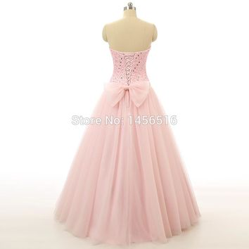 Pink Tulle Heavy Beaded Strapless Real Sample Prom Dresses