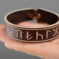 Unisex handmade designer leather symbolic Bracelet with runes Accessories ideas