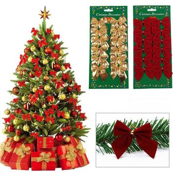 12PC Christmas Tree Bownot Decoration Baubles XMAS Wedding Party