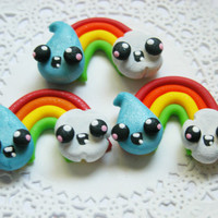 Clay Bow Centers, Buttons, Charms, Chunky Pendant, Necklace Pendant, Scrapbook Brads, Magnets - Happy Rainbow Raindrop Clouds- 4pcs