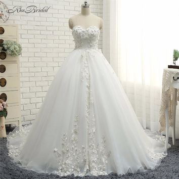 New Fashion Lace Wedding Dresses 2018 A-line Sweetheart neckline Cheap Bride Dress Corset Back vestido de noiva princesa