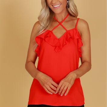 Classic Ruffle Tank Blouse Red