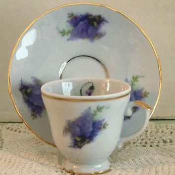 Set of 2 Demitasse Tea Cup and Saucer Lavender
