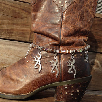 Browning boot bracelet-hunting charms-elk-boot bling-boot jewelry-western wear-country girl-western jewelry