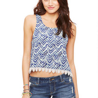 Crochet Trim Tank - Blue Multi