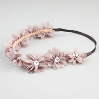 Full Tilt Chiffon Flower Headband Taupe One Size For Women 21998741301
