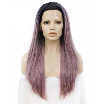Black Root Grayish Pastel Pink Ombre Long Straight Synthetic Lace Front Wig