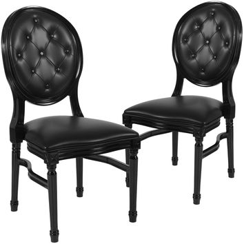 2 Pk. HERCULES Series 900 lb. Capacity King Louis Chair with Tufted Back and Vinyl Seat
