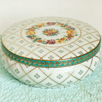 Vintage Small Daher Turquoise and Yellow Flower Print Tin Storage Box, Round Container Made in England