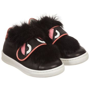 Fendi Girls Black Leather Sneakers with Fur