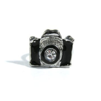 Black Camera Ring Adjustable Photographer Vintage RB39 Retro Crystal Photo Silver Tone Fashion Jewelry