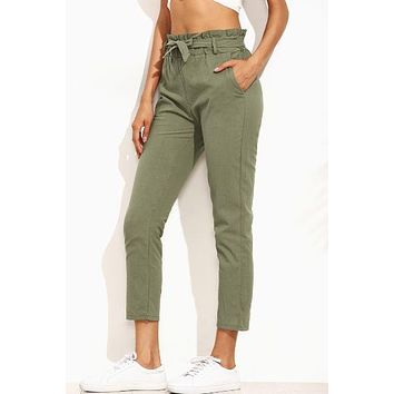 Frill Tie Waist Army Green Pants