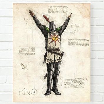 Dark Souls Print Solaire of Astora Print Dark Souls Poster Room Decor Pictures Wall Art