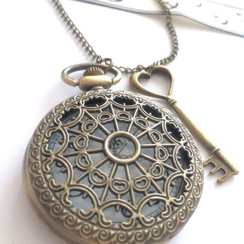 Key Charm heart Pocket Watch necklace - antique bronze, bridesmaid- locket,steampunk