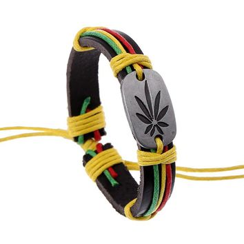 2017 New Fashion Bracelets Jamaica Reggae Red Yellow Green String Leaves Bracelets&Bangles European and American Hiphop Jewelry