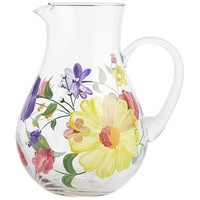 Spring Happy Floral Painted Glass Pitcher