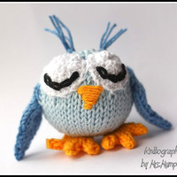 Toy Owl, handmade from ecologic cotton yarn, blue