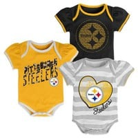 NFL 3-Piece Pittsburgh Steelers Bodysuit Set