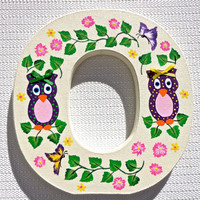 Hand Painted Letter O Nursery Monogram With Purple Owls Girls Room Decor