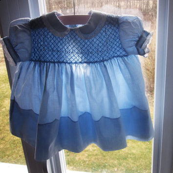 Blue Baby Dress, Smocked, Vintage and Handmade in Philippines
