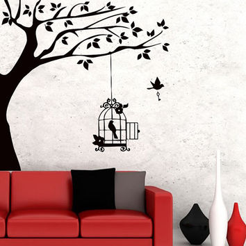 Wall Decals Tree Bird Cell Decal Vinyl Sticker Home Decor Nursery Bedroom Kitchen Room Dorm Living Room MN380