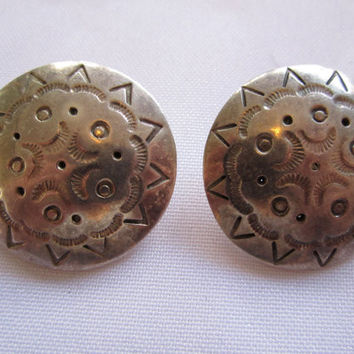 Estate Sterling Earring, Vintage Mexican Round Concho Pierced